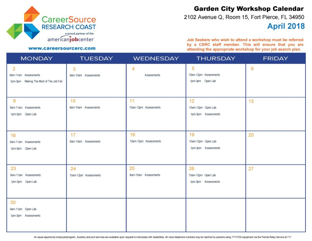 Calendar April 2018.Gc Calendar April 2018 Careersource Research Coast