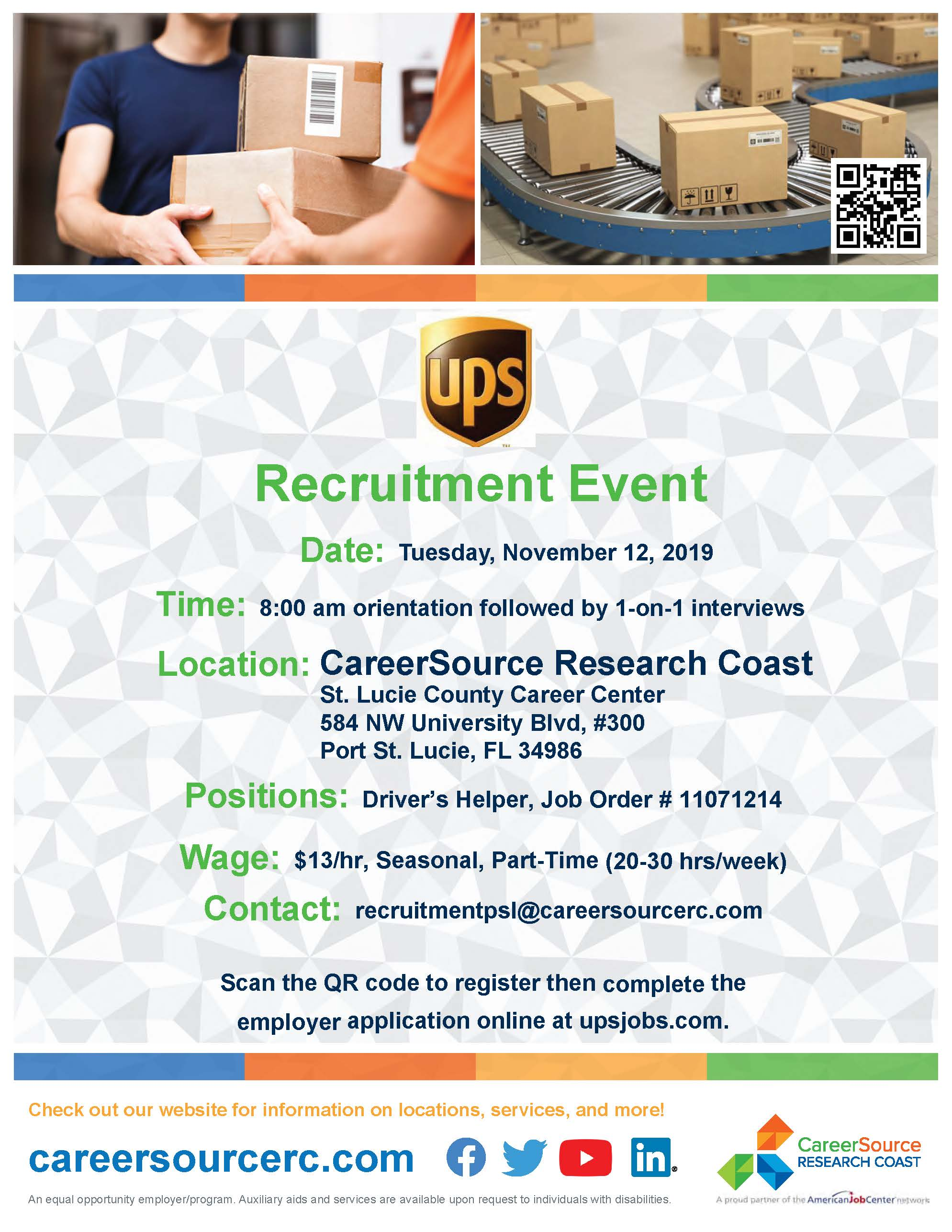 UPS Recruitment Event - CareerSource Research Coast